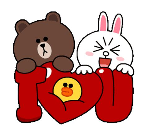 Line Emoticon Cony 3 Raglan brown and cony i you hd smileys