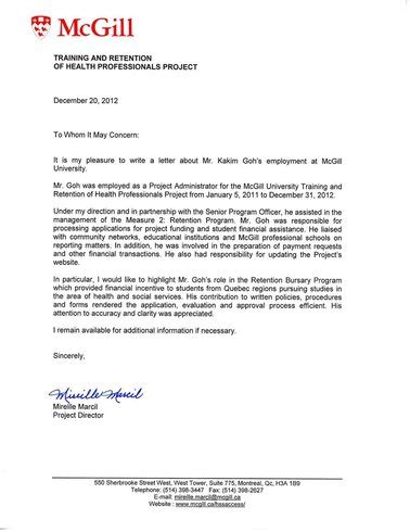 Reference Letter Mcgill experience kakim goh references kakim goh project