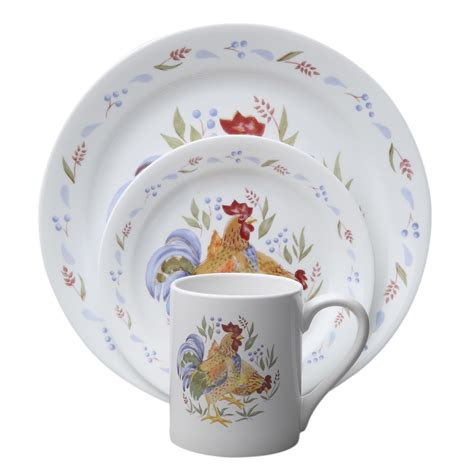 corelle impressions country morning rooster thanksgiving 16 pc dinnerware set ebay