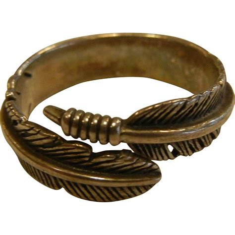 vintage sterling silver feather wrap ring from