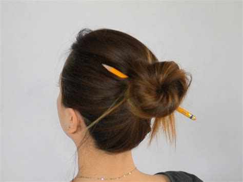 in bun how to make a bun without a hair tie 8 steps with pictures