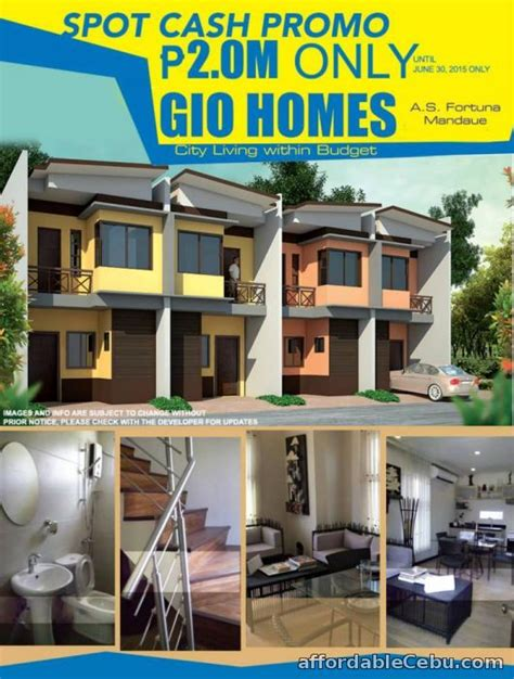 2 5m house and lot for sale in gio homes as fortuna
