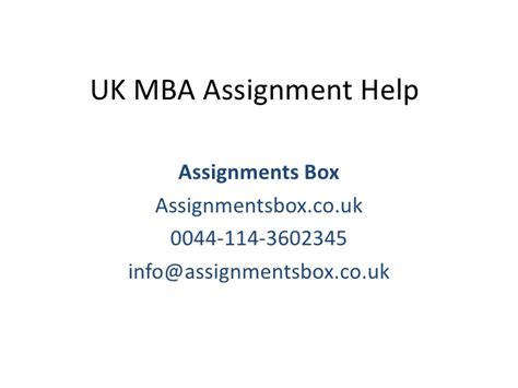 Mba Assignment Help by Uk Mba Assignment Help