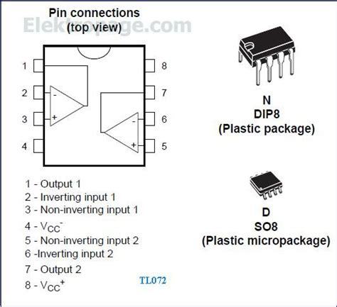 integrated circuits pin diagram tl072 ic pinout diagram integrated circuits elektropage
