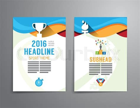 Vector Brochure Flyer Magazine Cover Booklet Poster Design Template Layout Sport Annual Report Sports Graphic Design Templates