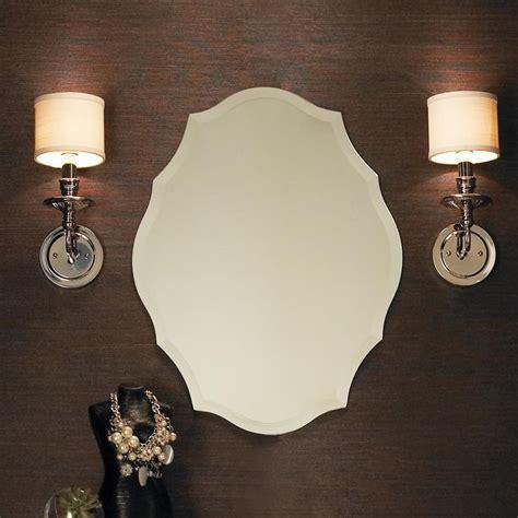 shaped bathroom mirrors beveled shield shaped frameless mirror
