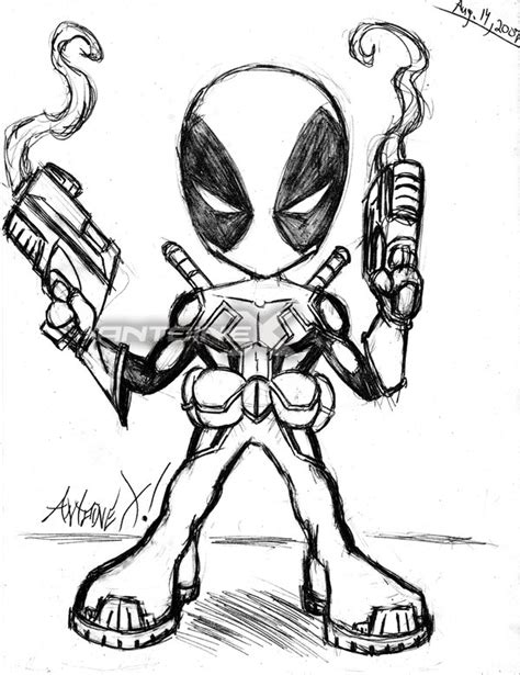 lil deadpool pencil coloring pages