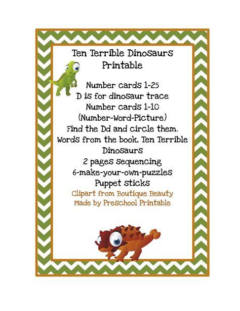 free printable dinosaur number cards preschool printables ten terrible dinosaurs printable