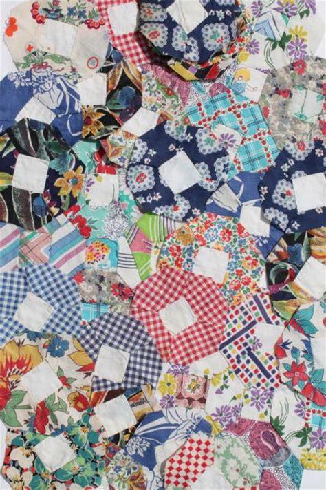 Vintage Patchwork Fabric - stitched vintage patchwork quilt blocks flower
