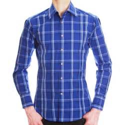 brio mens shirts men s blue and white checkered shirt slim cut