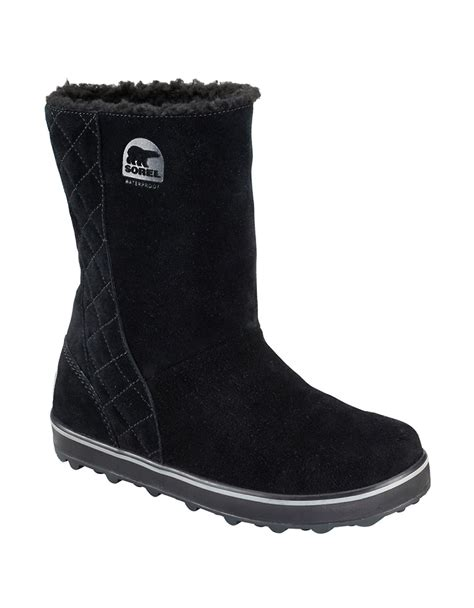 sorel glacy suede and faux fur lined ankle boots in black