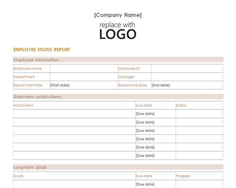 employee weekly status report template employee status report employee status report template