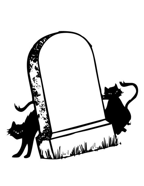 printable tombstone and cats coloring page from