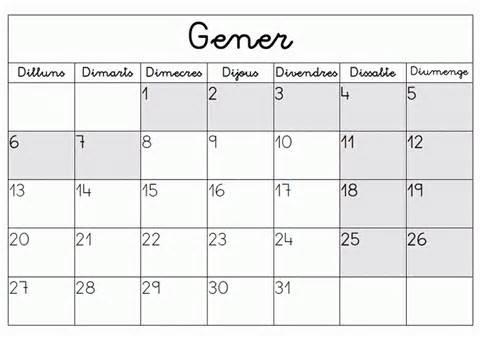 Calendario L Recursos Per Treballar A L Escola Espai Calendari Horari