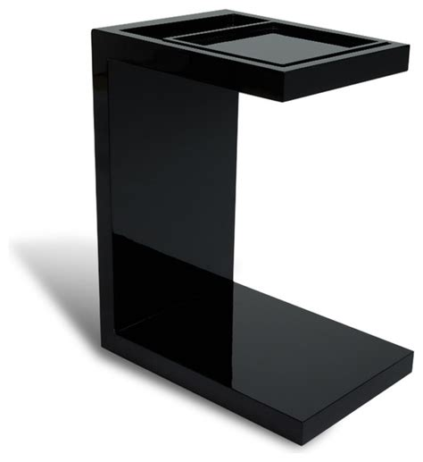 Black Gloss Side Table Black Monk Gloss End Table With Sliding Tray Contemporary Side Tables And End Tables By