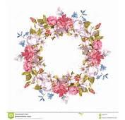 Einladungs Karte Mit Blumenkranz Rosen Narzisse Gartennelke
