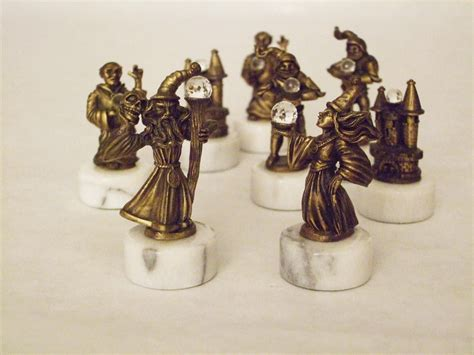 fantasy chess set medieval fantasy chess set pewter brass by spoontiques ebay