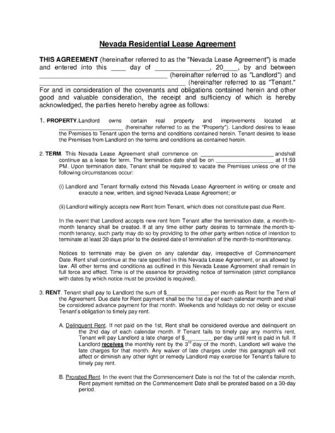Virginia Rental Lease Agreement Nevada Residential Lease Agreement Template