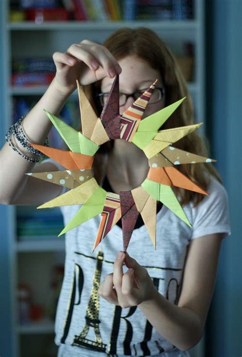 older children christmas crafts origami starburst wreath make and takes