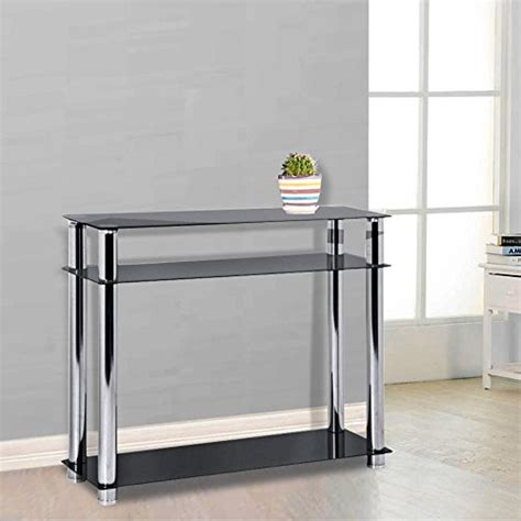 narrow glass console table chinkyboo 3 tier modern black glass narrow console table