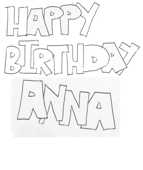 happy birthday anna coloring pages colouring in pictures
