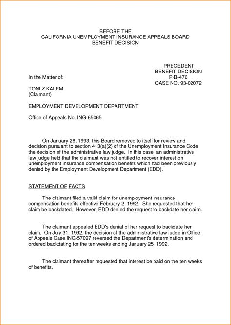 free unemployment appeal letter template 8 sle appeal letter for unemployment appeal
