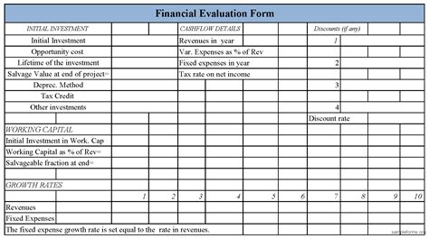 financial assessment template financial evaluation form sle forms