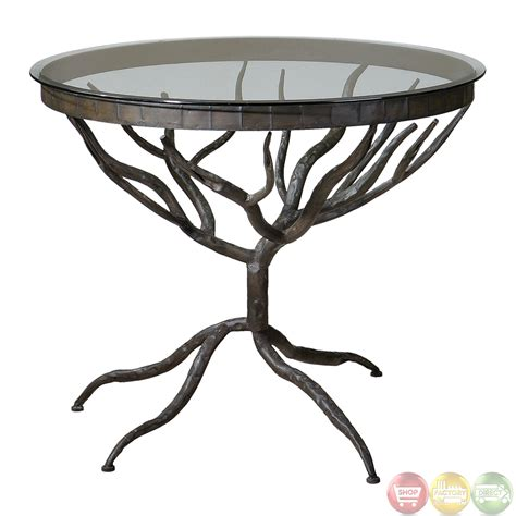diogo cast iron base glass top accent table 24336 esher tree design metal base glass top accent table 24317