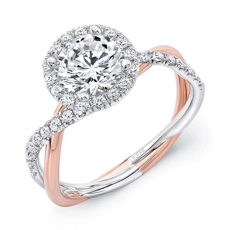 Two Tone Halo Engagement Ring - uneek two tone halo 14k gold engagement ring