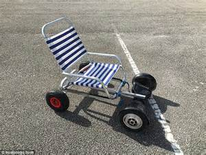 hover chair hoverboard owner adds deck chair to wheels to ride to