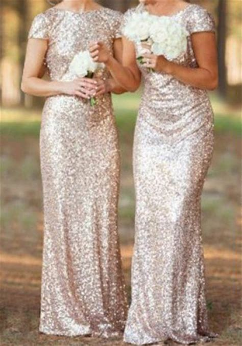 Baju Pesta Slim Princes Fs1470 golden plain sequin bridesmaid v back neck