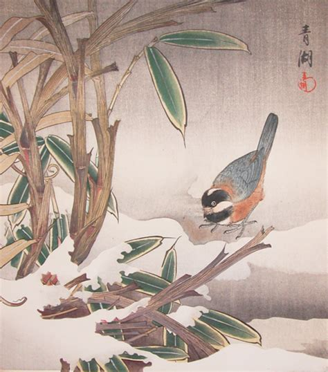 seiko bird and bamboo in snow ronin gallery ukiyo e