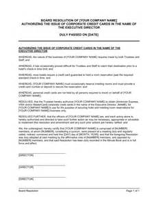Board Resolution Templates by Board Resolution Authorizing The Issue Of Corporate Credit