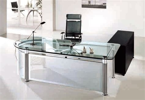 glass office desks use glass furniture for a sophisticated look
