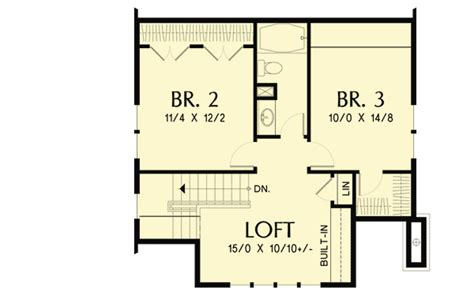 bungalow with loft floor plans bungalow with open floor plan loft 69541am