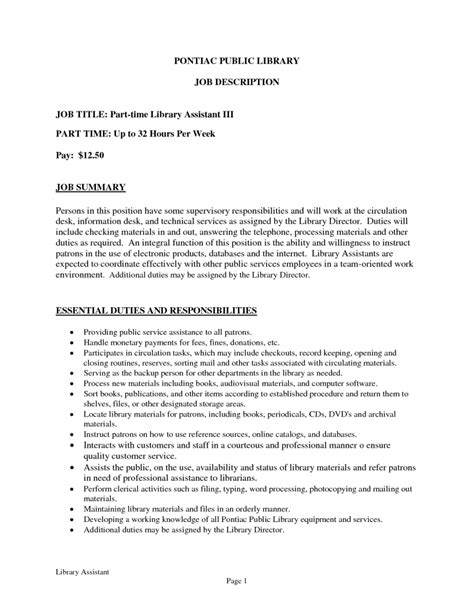 Library Assistant Description Resume resume assistant sales assistant lewesmr