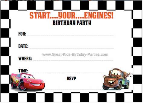 Eos Birthday Card Free Template 4 Per Page by Disney Cars Birthday Cars Invitation Free