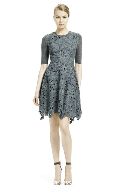 Dress Lace Grey lyst lace knitted dress in gray