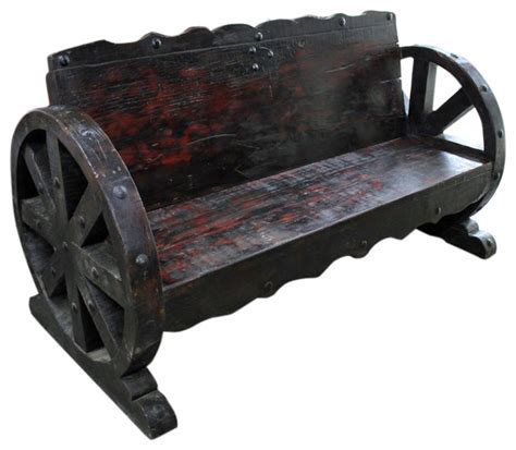 rustic wagon wheel bench mesquite wood wagon wheel bench rustic indoor benches