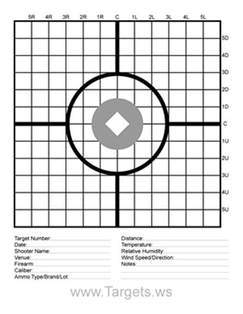 printable 22lr targets sight in target 1 with data lines airgun enthusiast