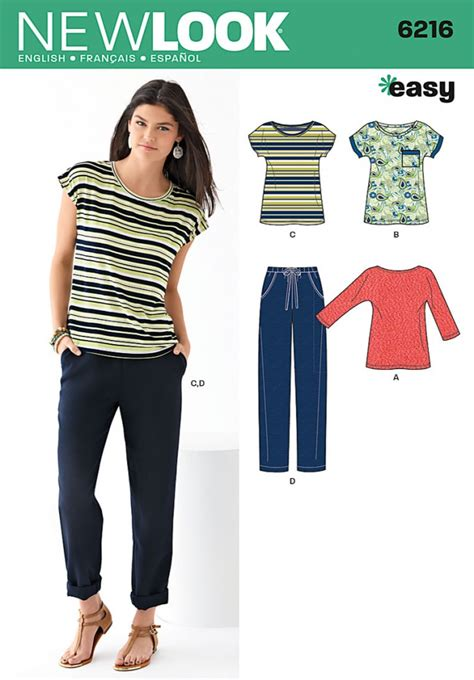 new pattern jeans pant new look ladies easy sewing pattern 6216 casual tops