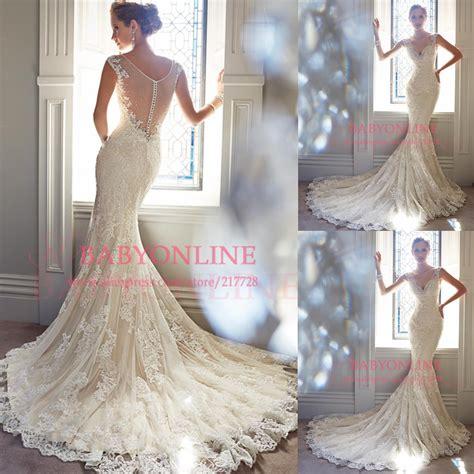 Aliexpress Buy 2014 Mermaid Bridal Gowns Crew Aliexpress Buy Mermaid Wedding Dress 2014 Sheer Back