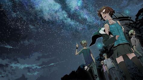 starry night sky girl anime anime girls kimi no shiranai monogatari low angle sho
