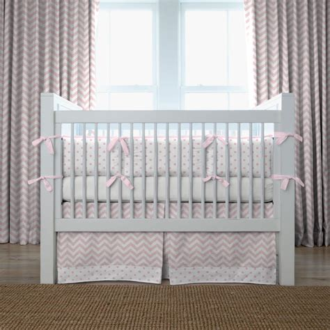 Pink Chevron And Dots Crib Bedding Carousel Designs Pink And White Bedding
