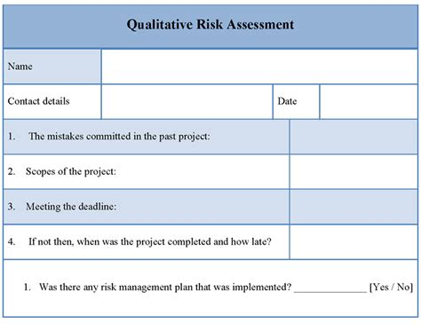 risk assessment form exles