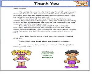 thank you letter to parents school ideas