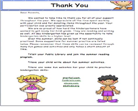 thank you letter to kindergarten from student thank you letter to parents school ideas