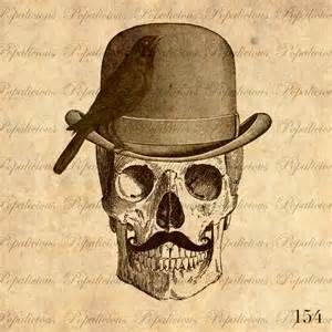 vintage halloween skull collage sheet transfer for paper
