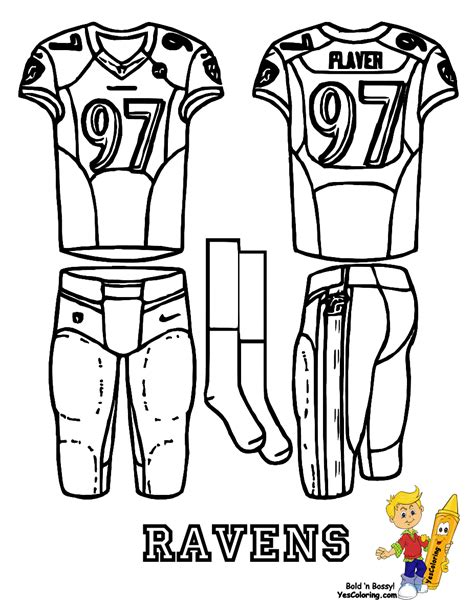 football uniforms coloring pages