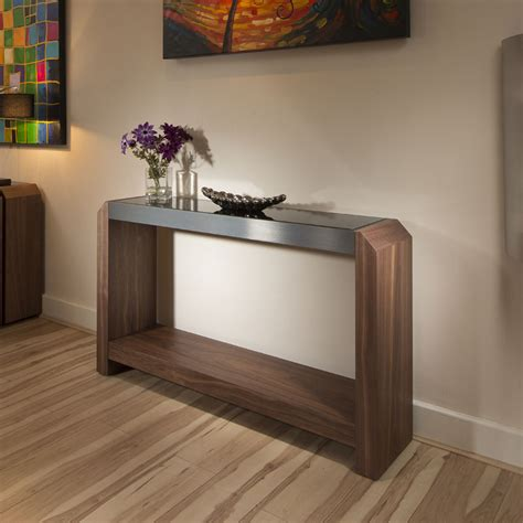 Glass Hallway Table Occasional Console Table Walnut Black Glass Top Alum Trim 701 Ebay